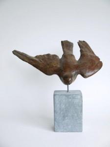 slechtvalk, brons, 30 cm. breed