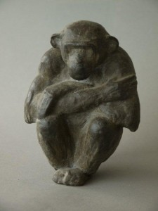 bronzen chimpansee, 14 cm